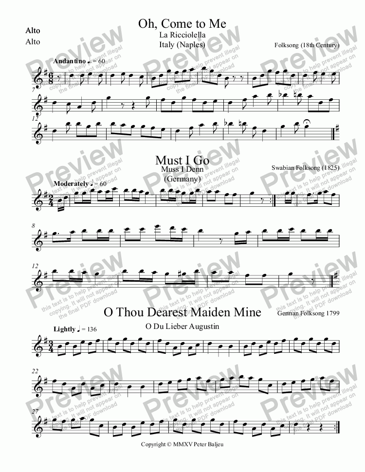 page one of the Alto part from 3 European Folk Songs for Recorders