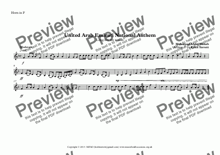 page one of the Horn in F part from United Arab Emirates National Anthem for Brass Quintet (MFAO World National Anthem Series)