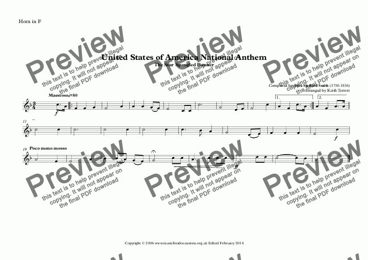 page one of the Horn in F part from United States of America National Anthem (The Star Spangled Banner) for Brass Quintet (MFAO World National Anthem Series)