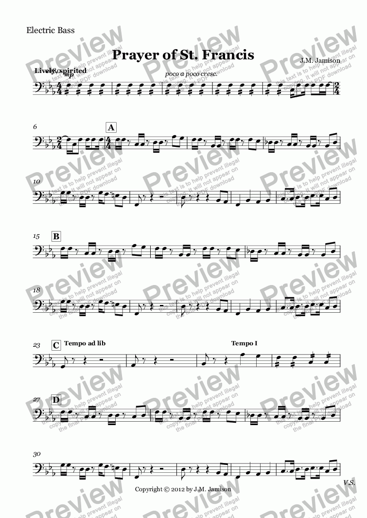 page one of the Electric Bass part from Prayer of St. Francis