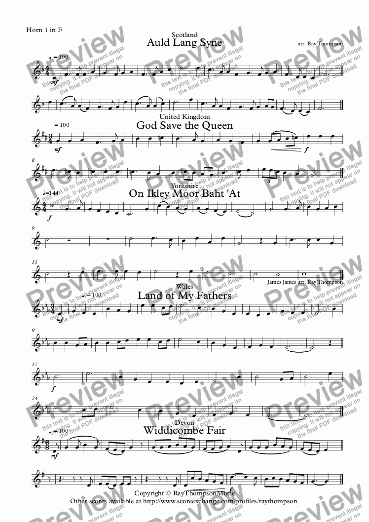page one of the Horn 1 in F part from A Collection of British National and Regional Tunes arranged for Beginning Horn Quartet: Auld Lang Syne, God Save the Queen, On Ikley Moor Baht 'At, Land of My Fathers, Widdecombe Fair.