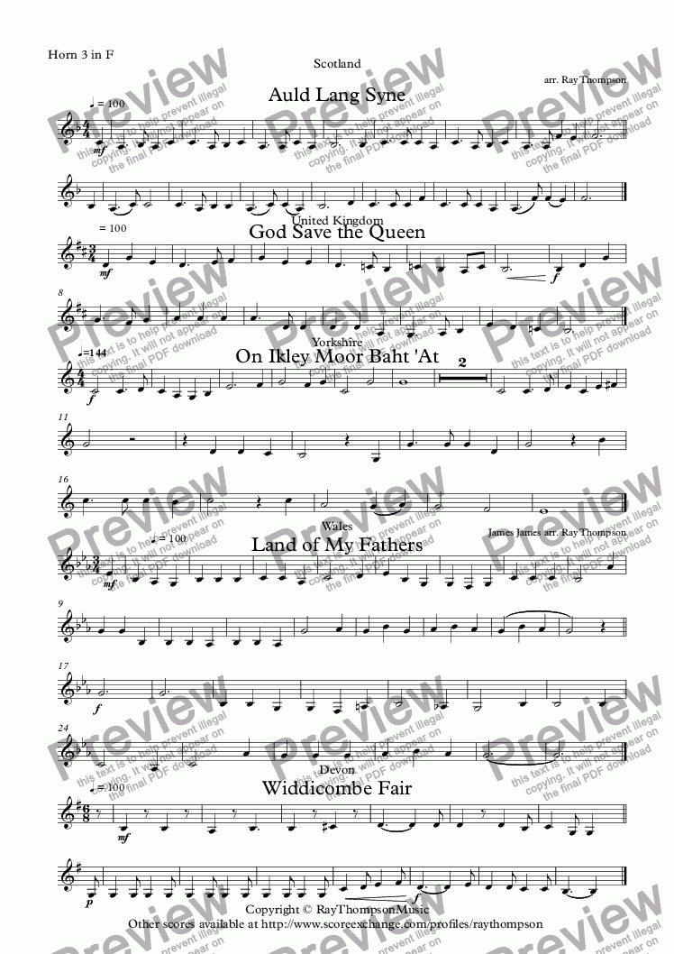 page one of the Horn 3 in F part from A Collection of British National and Regional Tunes arranged for Beginning Horn Quartet: Auld Lang Syne, God Save the Queen, On Ikley Moor Baht 'At, Land of My Fathers, Widdecombe Fair.