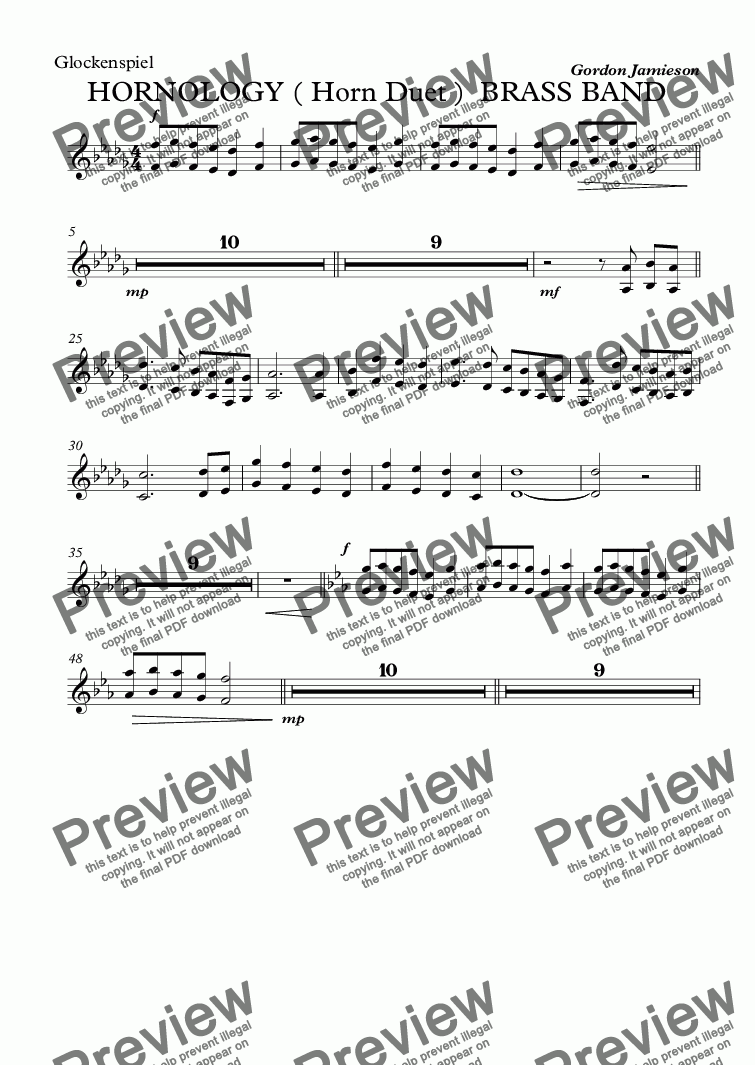 page one of the Glockenspiel part from HORNOLOGY ( Horn Duet )  BRASS BAND