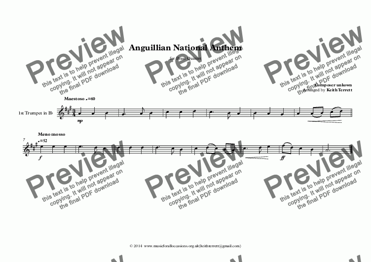 page one of the 1st Trumpet in Bb part from Anguillian National Anthem for Brass Quintet (MFAO World National Anthem Series)