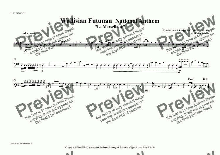 page one of the Trombone part from Wallisian Futunan Islands National Anthem (MFAO World National Anthem Series) for Brass Quintet