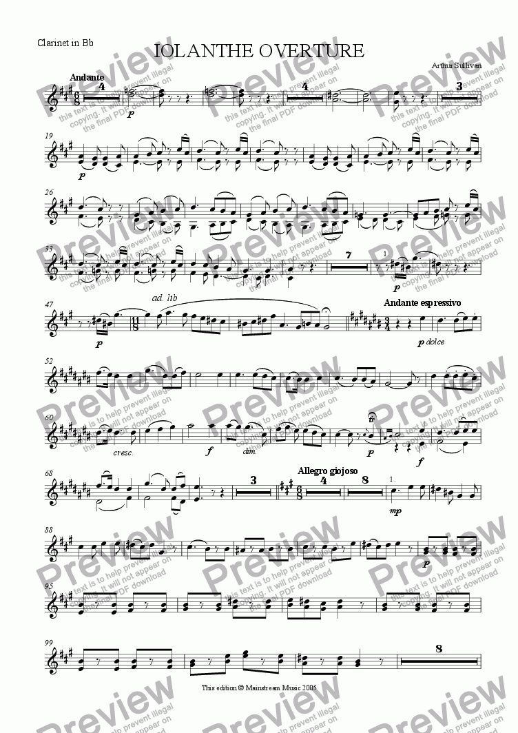 page one of the Clarinet in Bb part from Iolanthe Overture