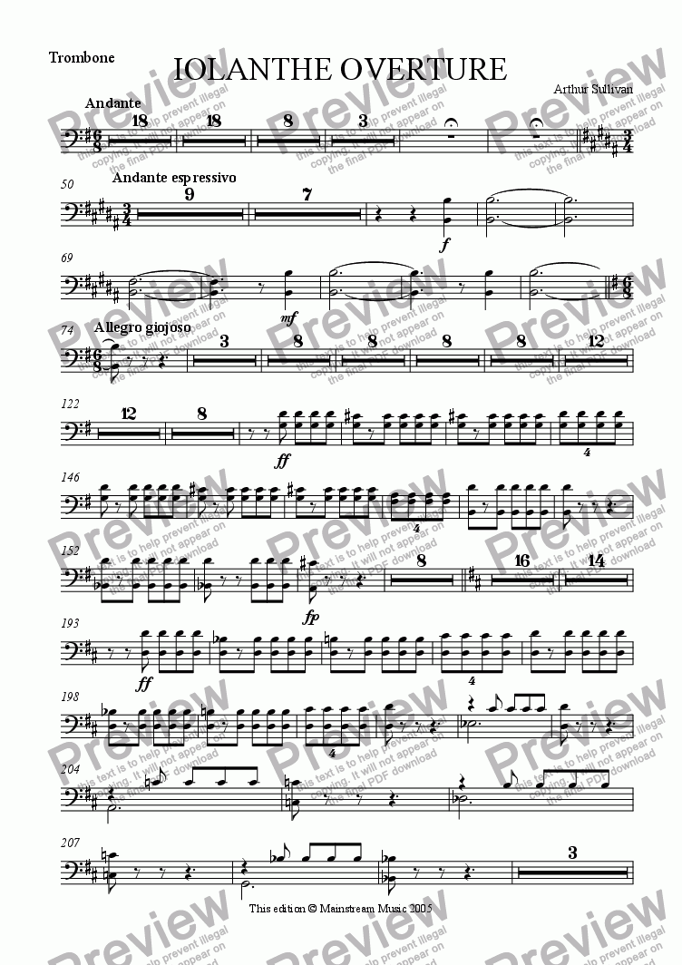 page one of the Trombone part from Iolanthe Overture