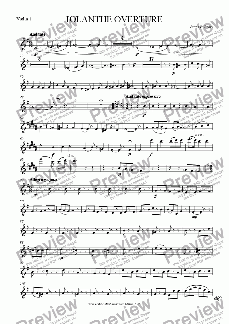 page one of the Violin 1 part from Iolanthe Overture