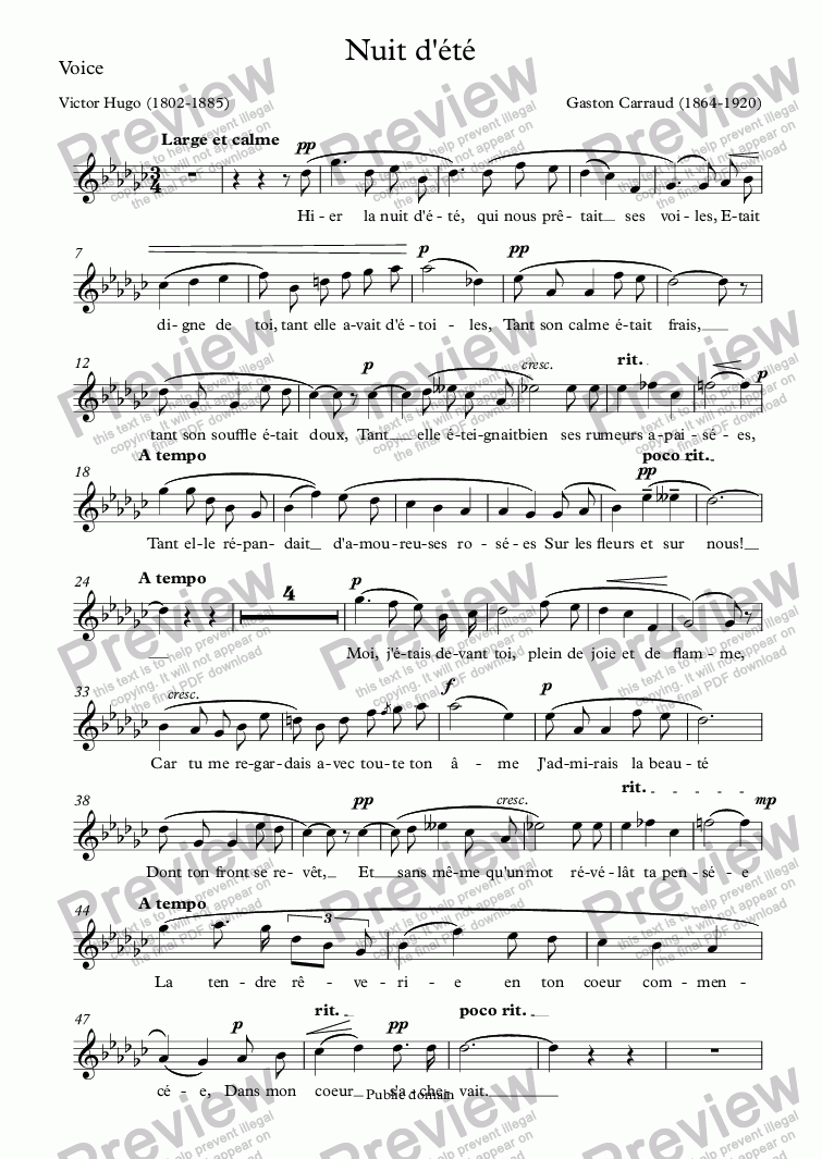 page one of the Voice part from Nuit d'été (Gaston Carraud / Victor Hugo)