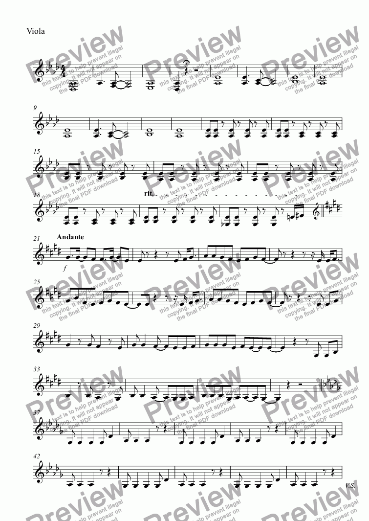 page one of the Viola part from untitled