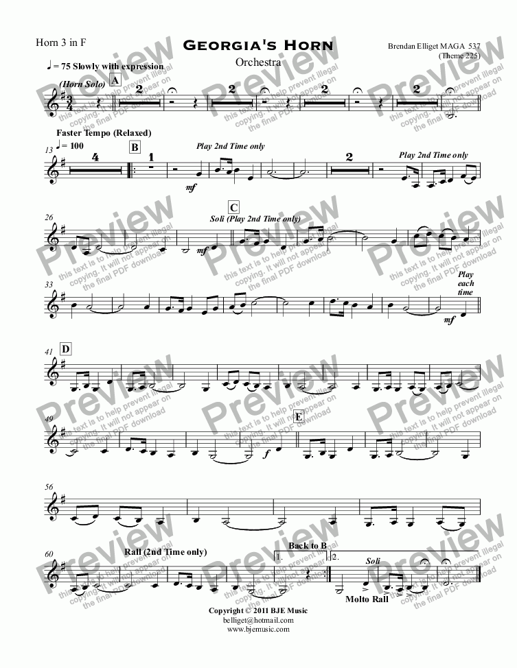 page one of the Horn 3 in F part from Georgia's Horn for Solo Horn and Orchestra