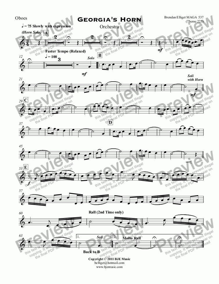 page one of the Oboes part from Georgia's Horn for Solo Horn and Orchestra