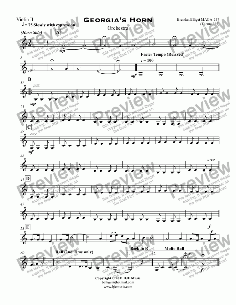 page one of the Violin II part from Georgia's Horn for Solo Horn and Orchestra