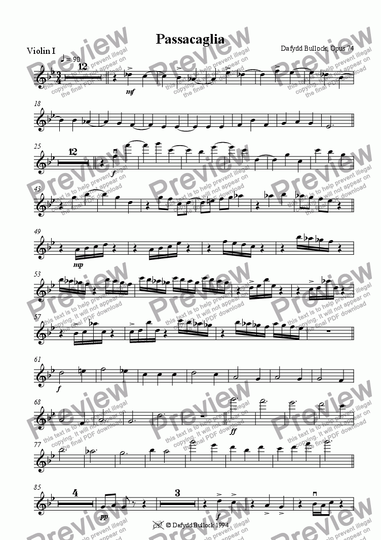page one of the Violin 1 part from Passacaglia for String Orchestra