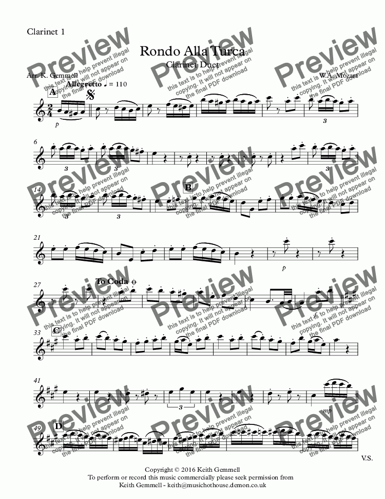 page one of the Clarinet 1 part from Rondo Alla Turca: Clarinet Duet