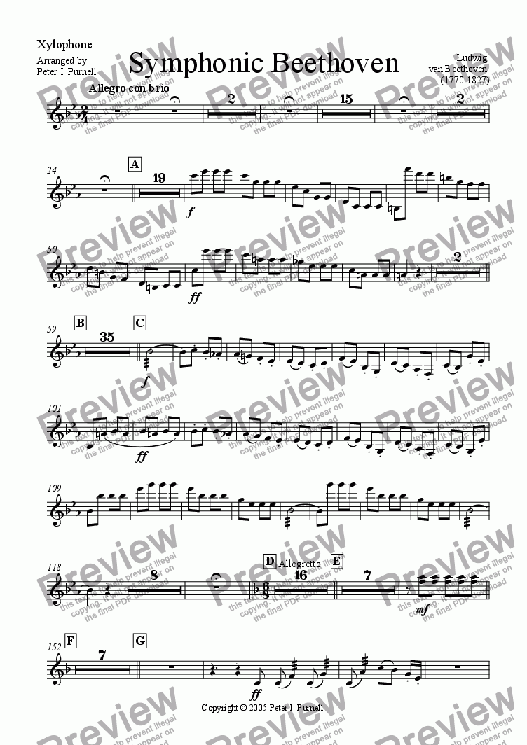 page one of the Xylophone part from Symphonic Beethoven