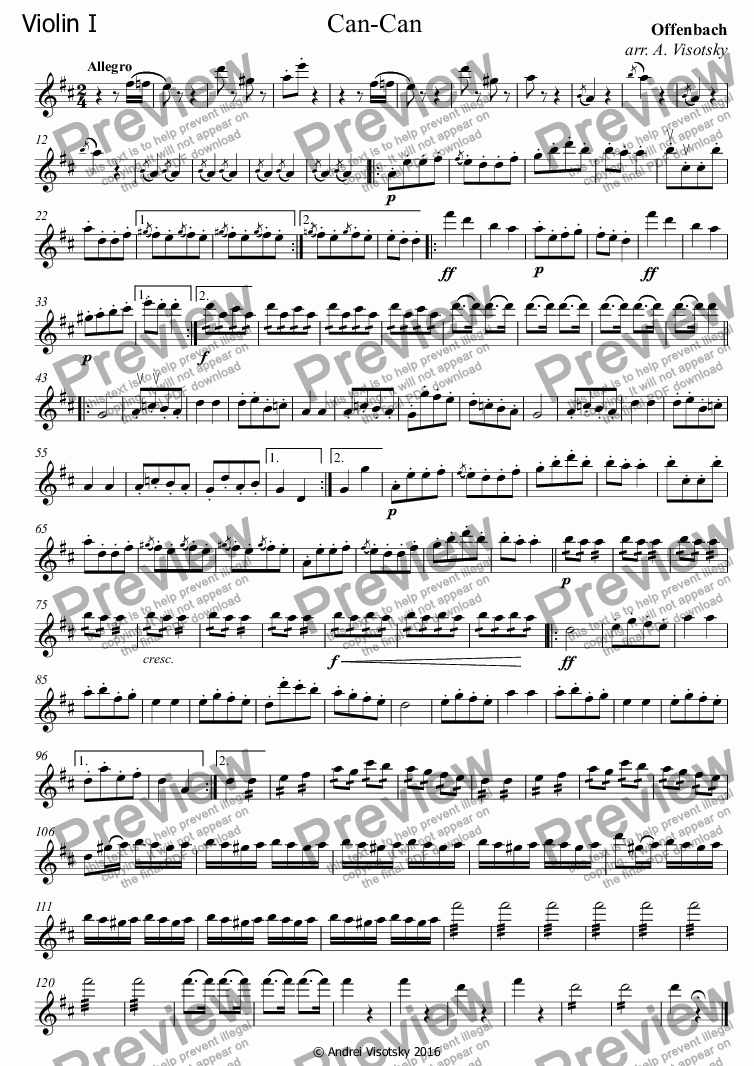 page one of the Violin I part from Can-Can