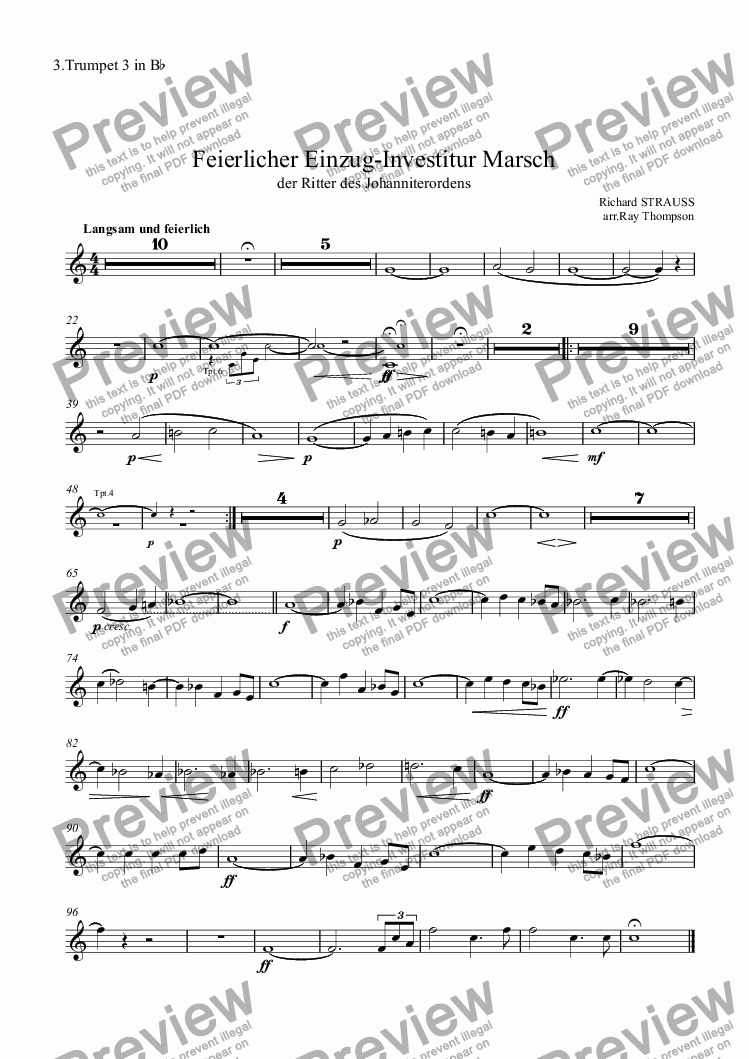 page one of the 3.Trumpet 3 in B^b part from Feierlicher Einzug-Investitur Marsch - brass choir
