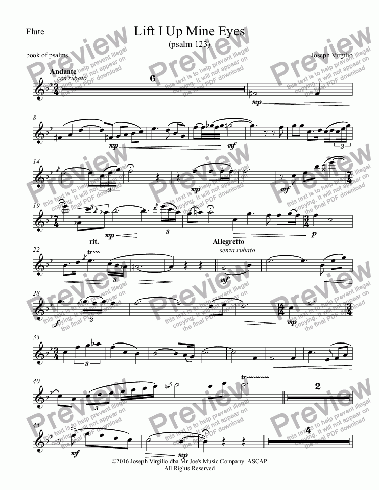 page one of the Flute part from Lift I Up Mine Eyes (Psalm 123)