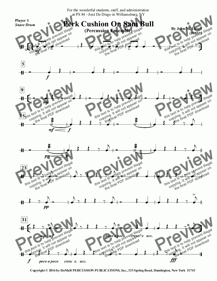 page one of the Player 1, \I\Snare Drum part from Perk Cushion On Sam Bull