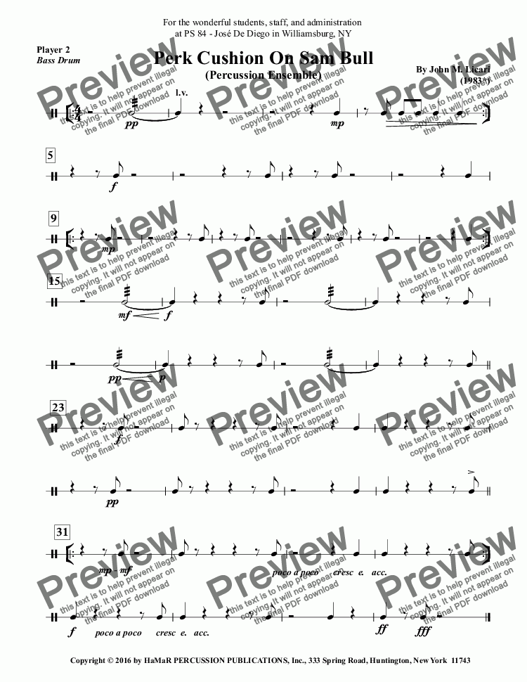 page one of the Player 2, \I\Bass Drum part from Perk Cushion On Sam Bull