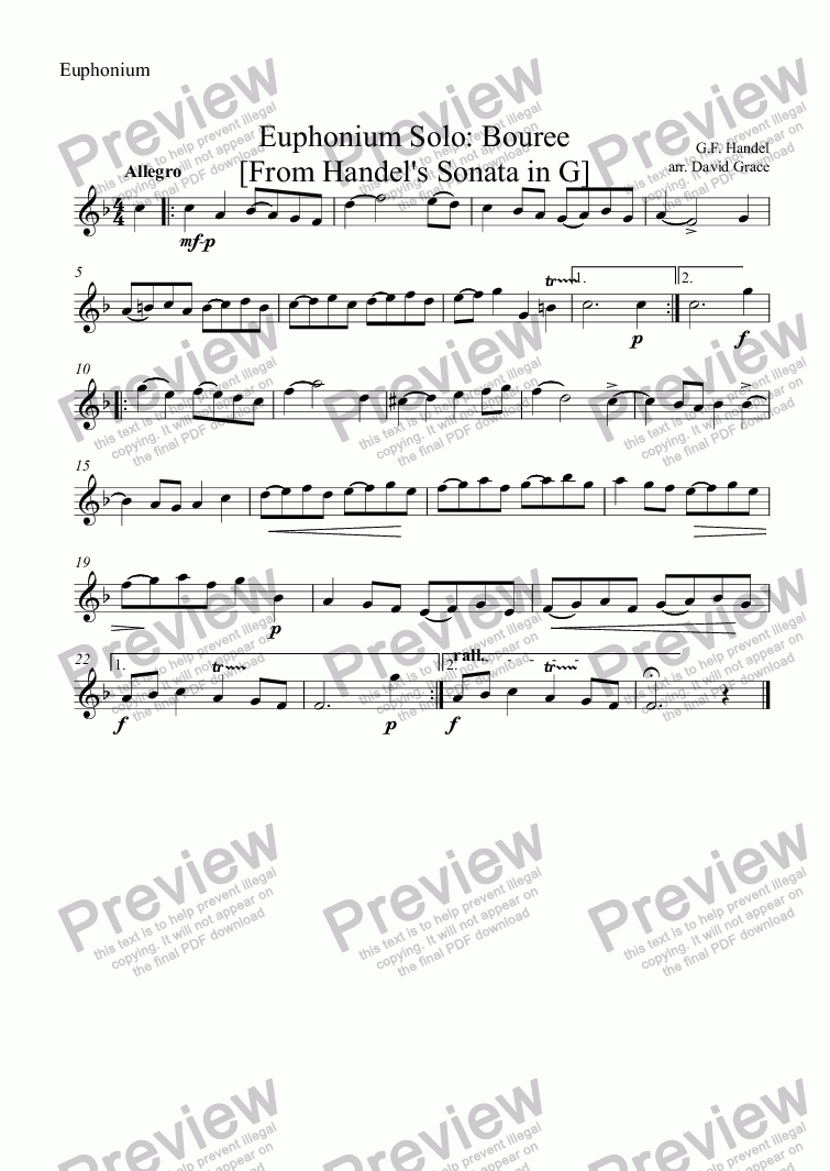 page one of the Euphonium part from Bouree [From Handel's Sonata in G] Euphonium Solo
