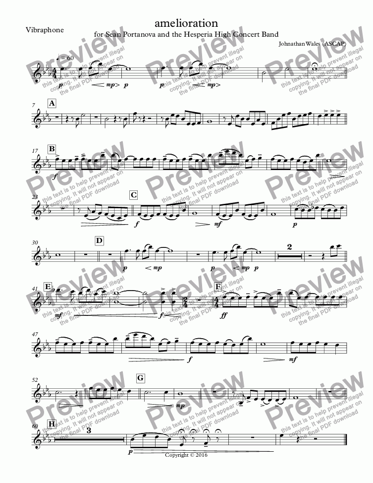 page one of the Vibraphone part from amelioration