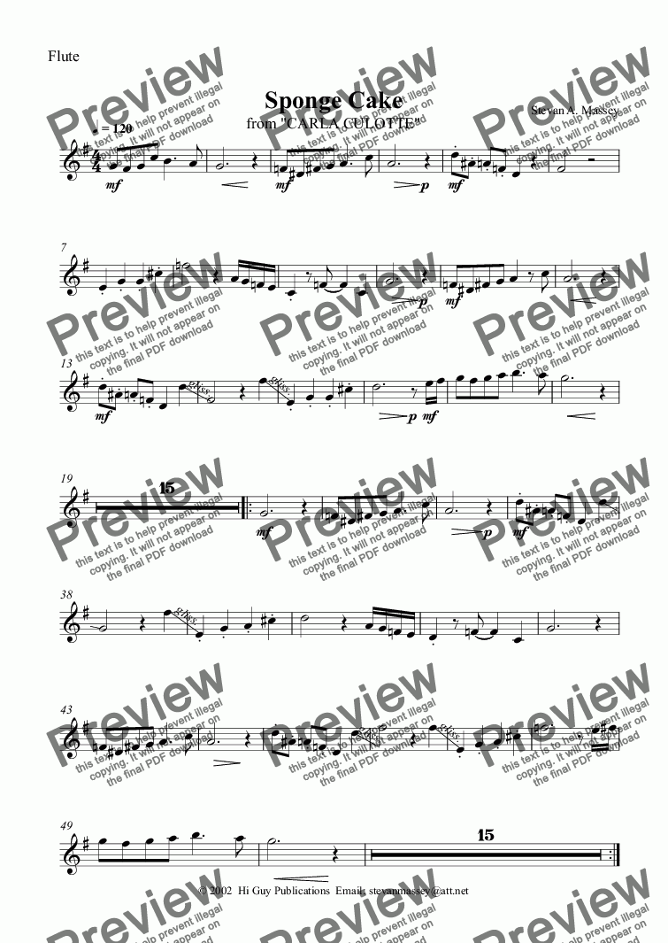 page one of the Flute part from Sponge Cake