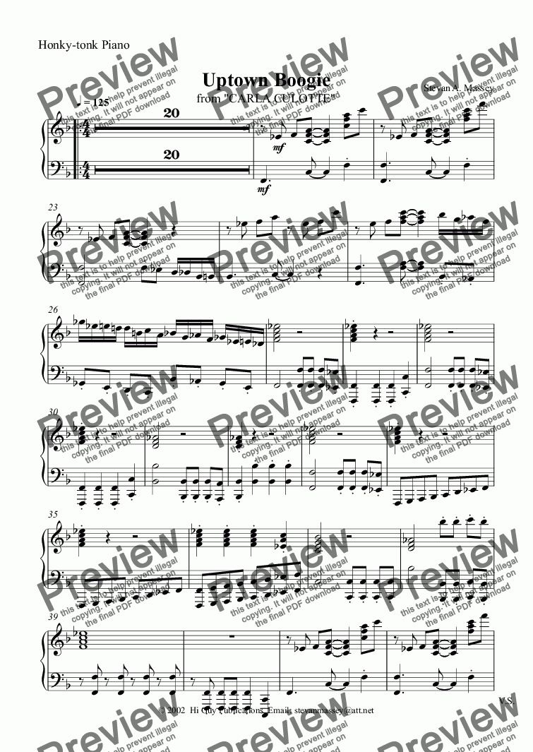 page one of the Honky-tonk Piano part from Uptown Boogie