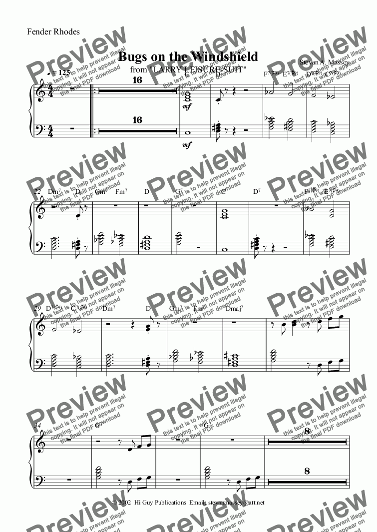 page one of the Fender Rhodes part from Bugs on the Windshield