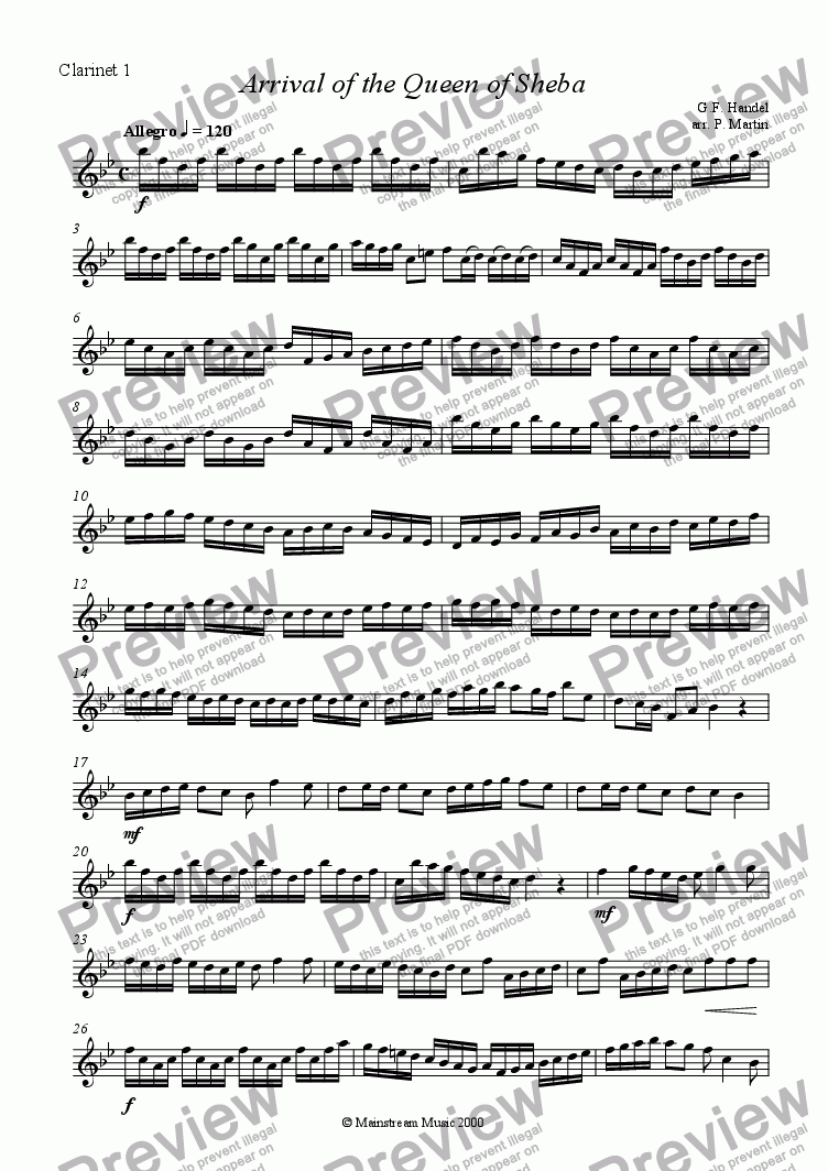 page one of the Clarinet 1 part from Arrival of the Queen of Sheba - Clarinet Quartet