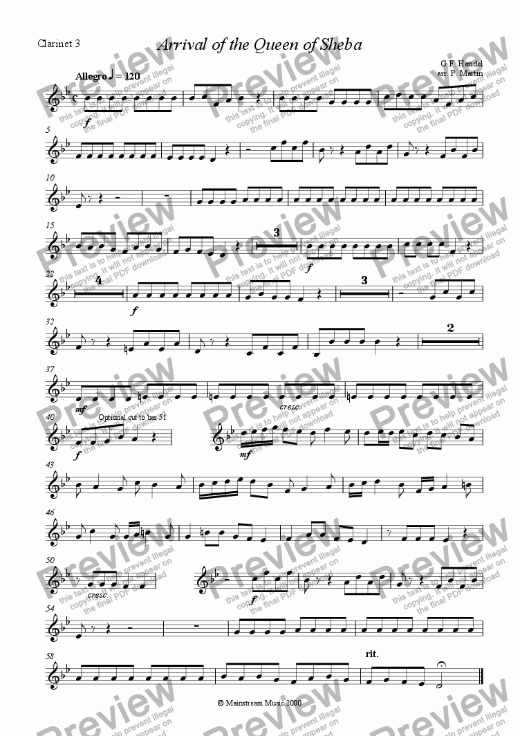 page one of the Clarinet 3 part from Arrival of the Queen of Sheba - Clarinet Quartet