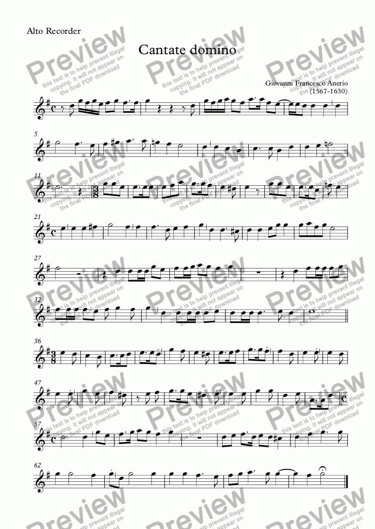 page one of the Alto Recorder part from Cantate domino (Anerio)