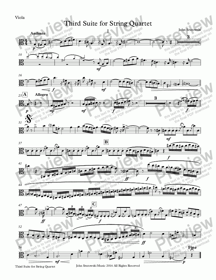 page one of the Viola part from Third Suite for String Quartet