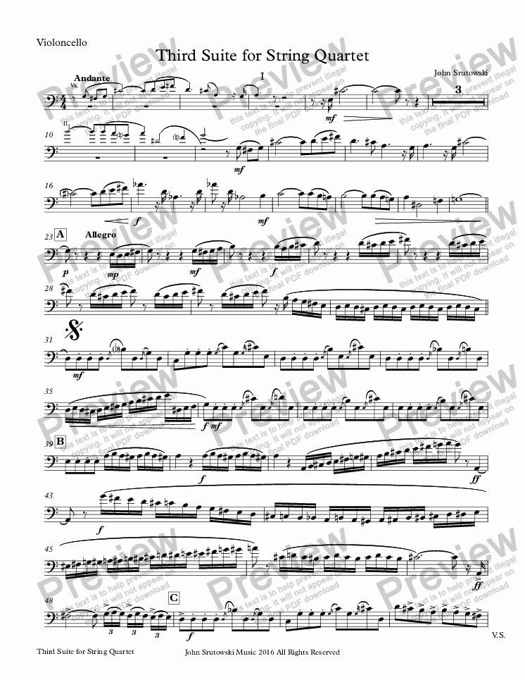 page one of the Violoncello part from Third Suite for String Quartet