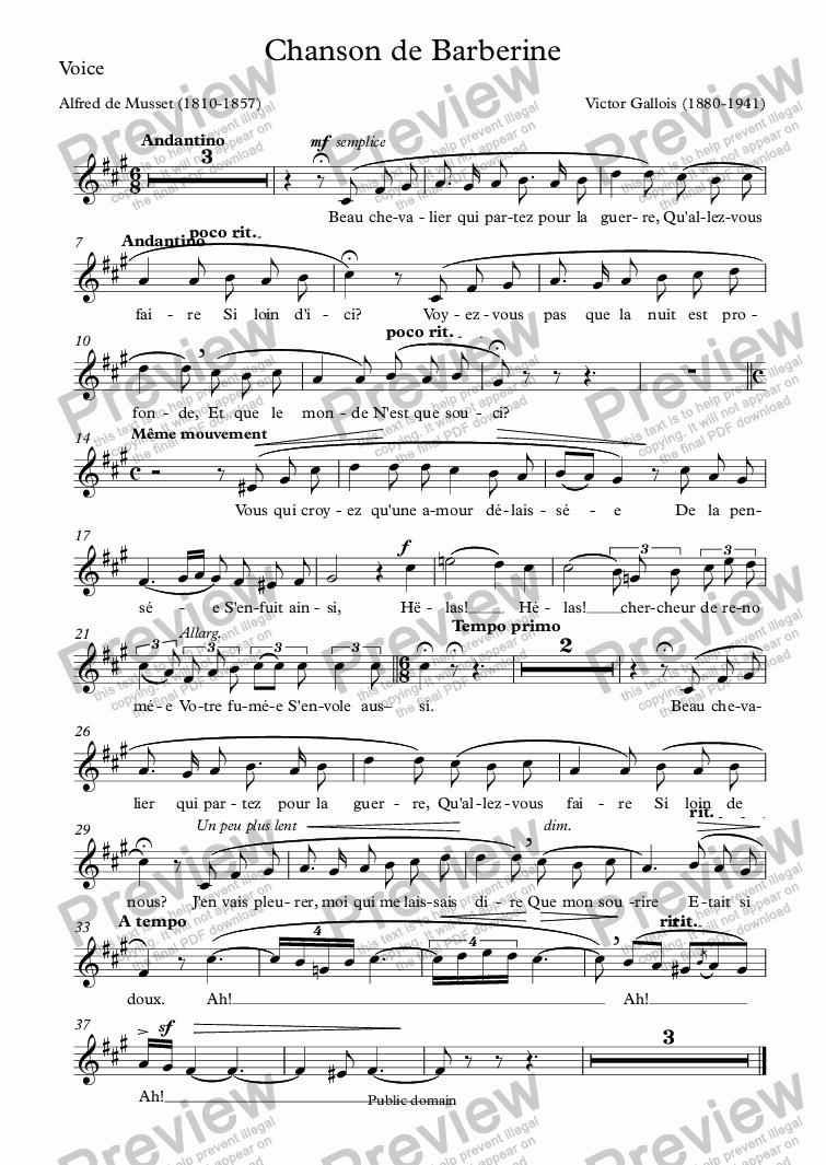 page one of the Voice part from Chanson de Barberine (Victor Gallois / Musset)