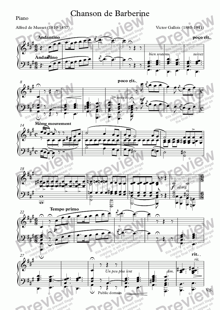 page one of the Piano part from Chanson de Barberine (Victor Gallois / Musset)