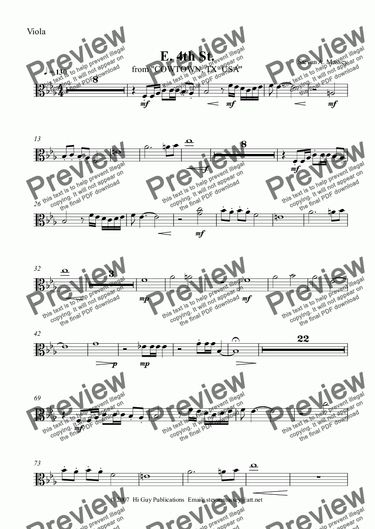 page one of the Viola part from E. 4th St.