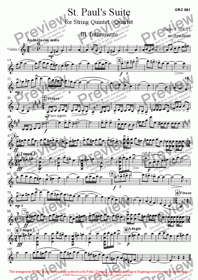 page one of the Violin 1 part from St. Paul's Suite - 3. Intermezzo