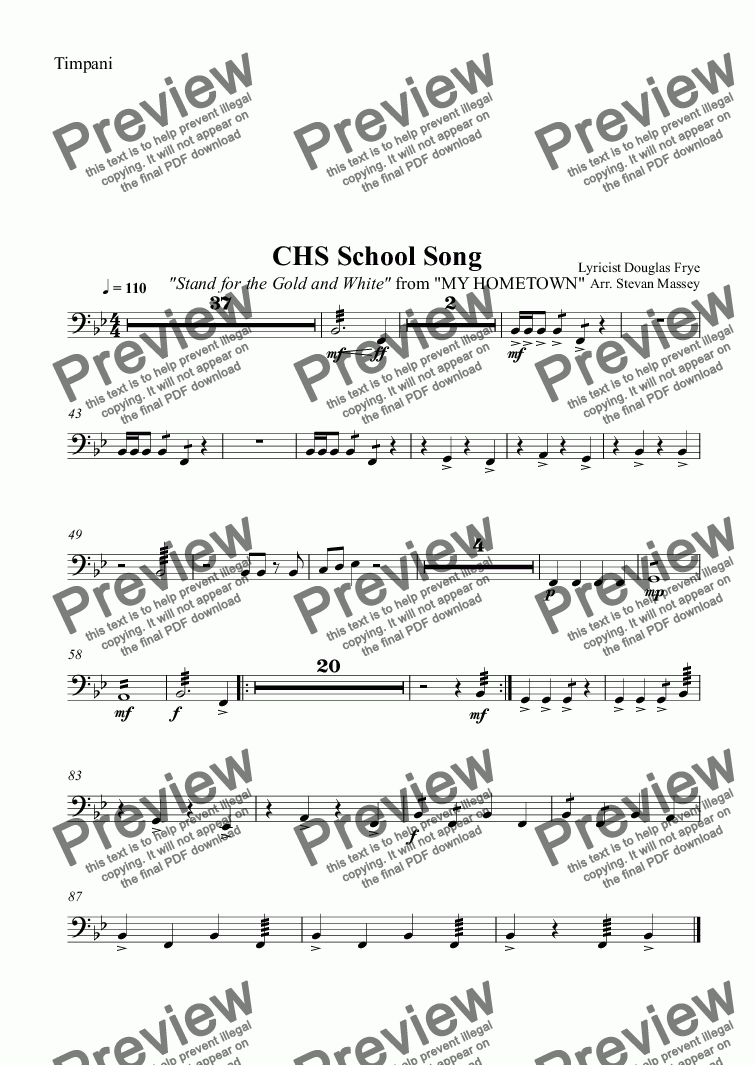 page one of the Timpani part from CHS School Song