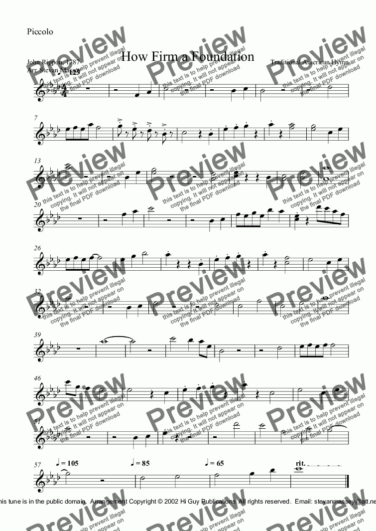 page one of the Piccolo part from How Firm a Foundation
