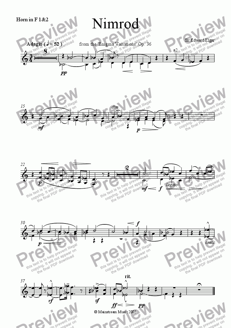 page one of the Horn in F 1&2 part from Nimrod from the 'Enigma Variations'
