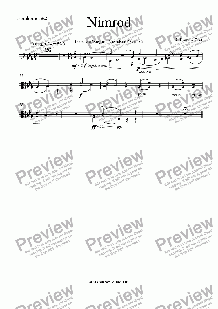page one of the Trombone 1&2 part from Nimrod from the 'Enigma Variations'