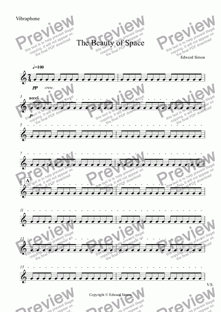 page one of the Vibraphone part from The Beauty of Space