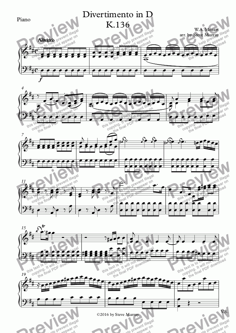 page one of the Piano part from Divertimento in D K.136 for Clarinet