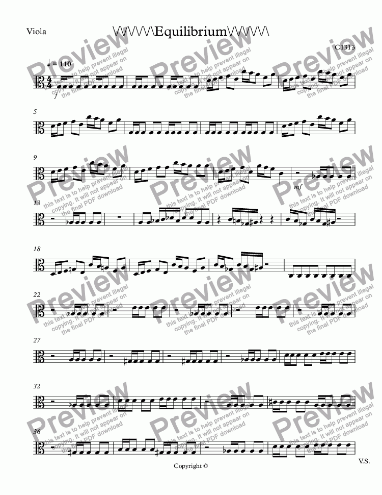 page one of the Viola part from Equilibrium