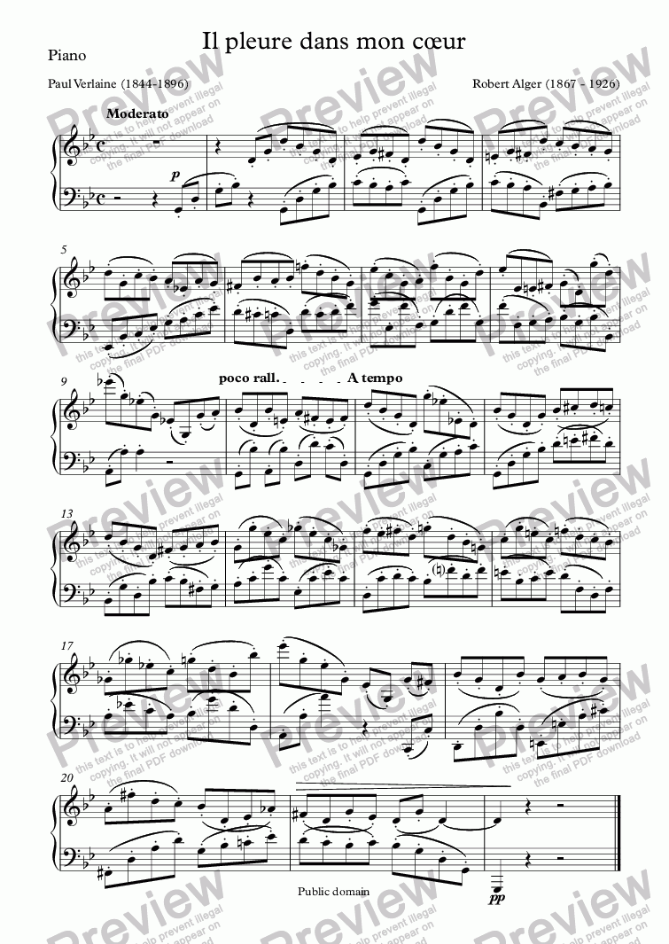 page one of the Piano part from Il pleure dans mon cœur (Robert Alger / Verlaine)