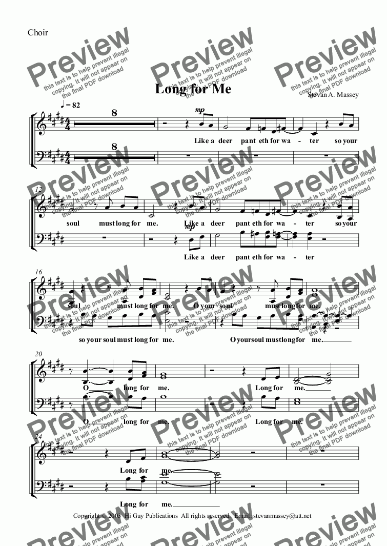 page one of the Choir part from Long for Me