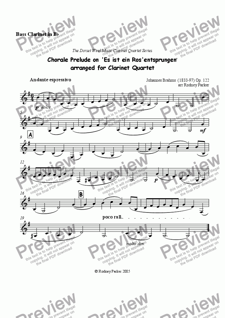 page one of the Bass Clarinet part from Chorale Prelude on 'Es ist ein Ros' entsprungen' arr for Clarinet Quartet