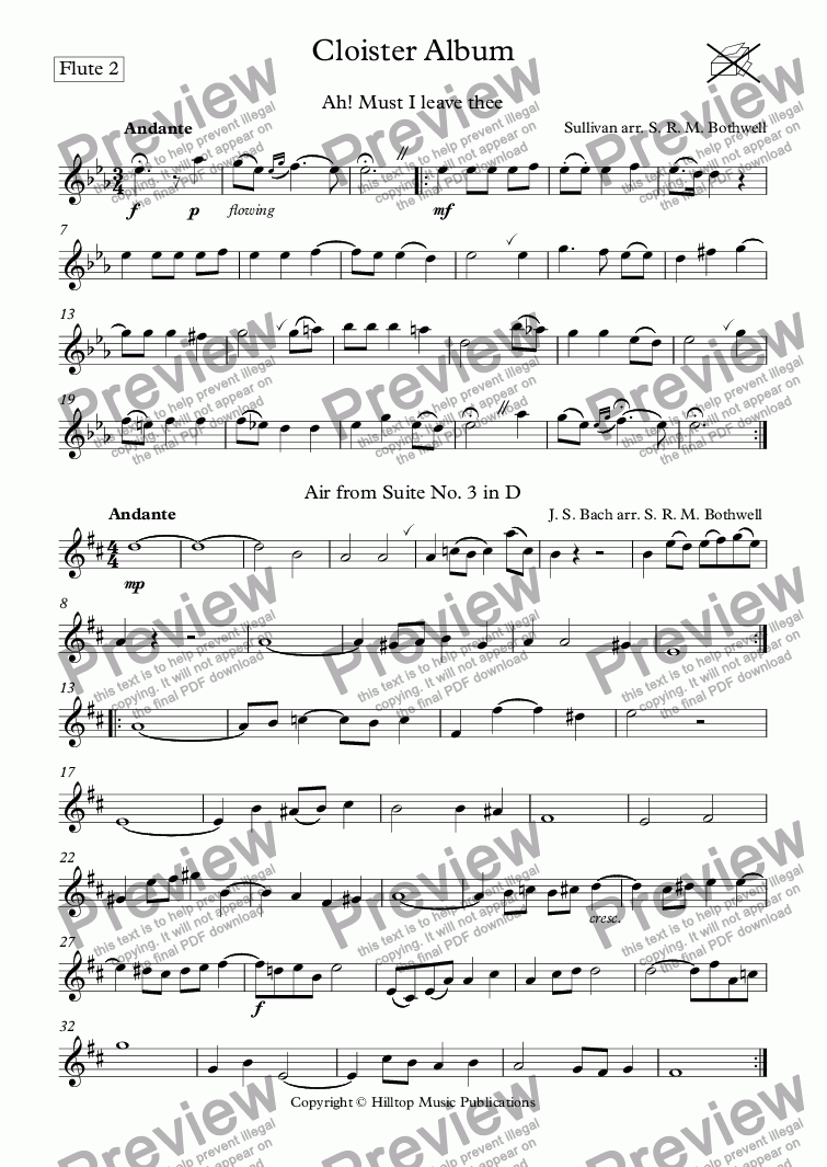page one of the Flute 2 part from Cloister Album arr. Three concert flutes and alto flute